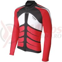 Tricou Shimano Performance maneci lungi leaf true red/black/white