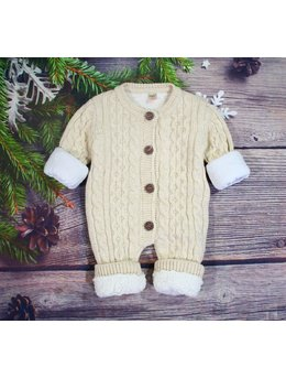 Combinezon crosetat lana baby maro