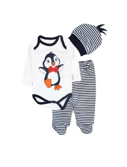Compleu 3 piese pinguin baby