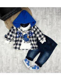 Compleu star carouri model albastru + INCALTAMINTE