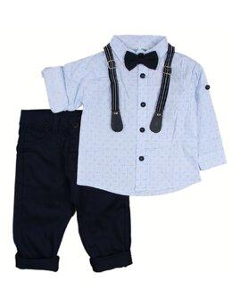 Costum baieti cu papion model bleu-negru