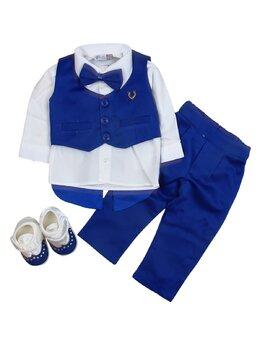 Costum botez 5 piese albastru