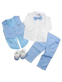 Costum botez 5 piese bleu