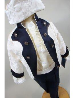Costum print imperial crem cu bleumarin