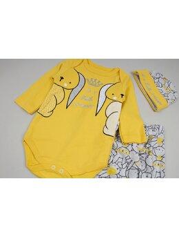 Costumas 3 piese cu doi iepurasi culoare galben