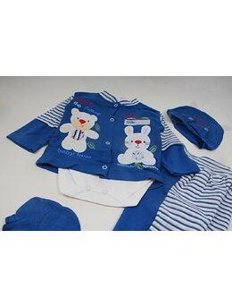 Costumas 5 piese bumbac albastru inchis