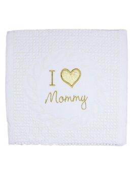 Patura crosetata I Love Mommy