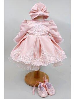 Rochita imperiala broderie model roz pal