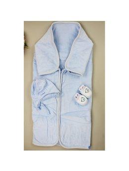 Sac de dormit catifea bleu A1902