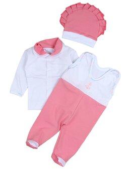 Salopeta 3 piese bebe roz