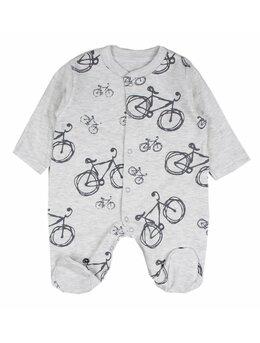 Salopetica baby biciclete model gri