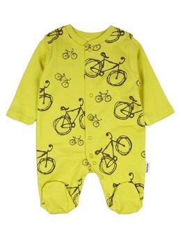 Salopetica baby biciclete model verde