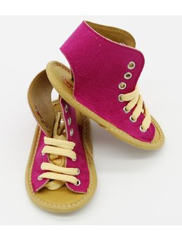 Sandale ciclam deschis cu siret