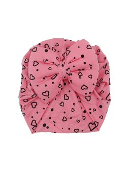 Turban roz cu inimi goale model 89