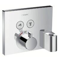 Baterie dus termostatata Hansgrohe ShowerSelect cu 2 functii si agatatoare dus, montaj incastrat, necesita corp ingropat