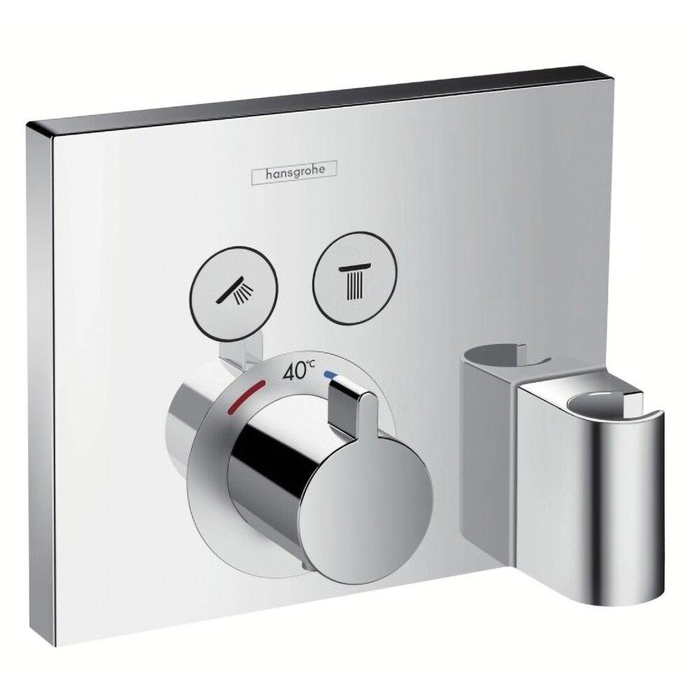 Baterie dus termostatata Hansgrohe ShowerSelect cu 2 functii si agatatoare dus, montaj incastrat, necesita corp ingropat imagine neakaisa.ro