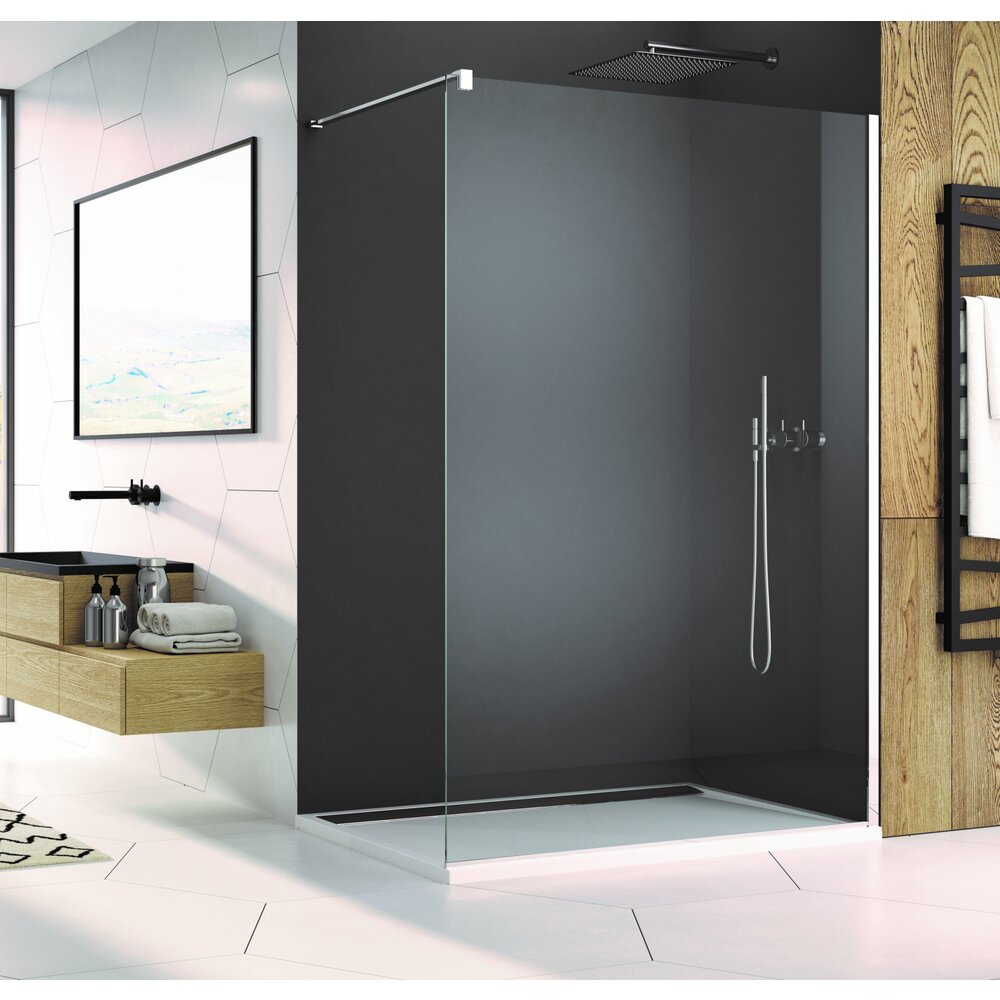 Cabina de dus Walk-In SanSwiss Easy STR4P 140 cm sticla securizata 8mm anticalcar imagine neakaisa.ro