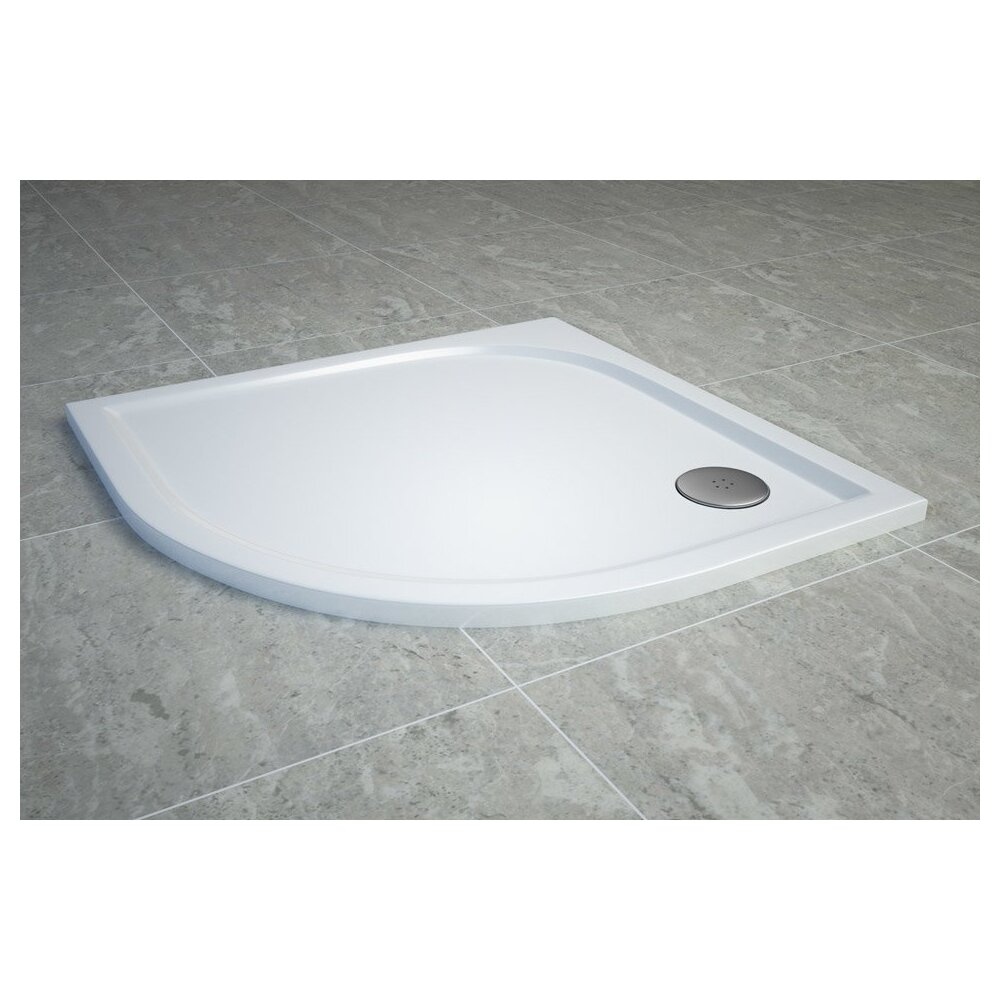 Cadita de dus semirotunda SanSwiss Tracy WAR 80x80 cm slim marmura sintetica alb