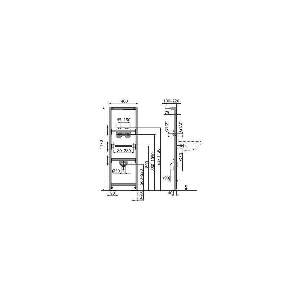 Cadru lavoar cu inaltime de instalare 1.2m Alcaplast A104A/1200