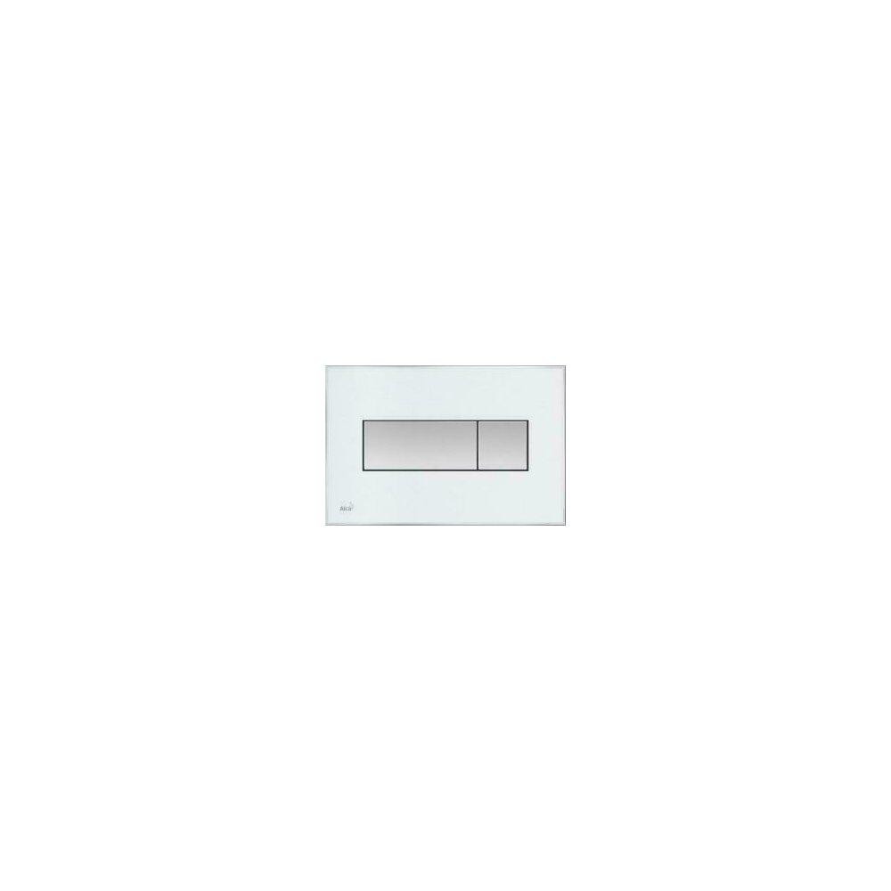 Clapeta de actionare Alcaplast pentru sistem de instalare ingropat, cu panou colorat inserat (Alb) - iluminat (Verde) poza