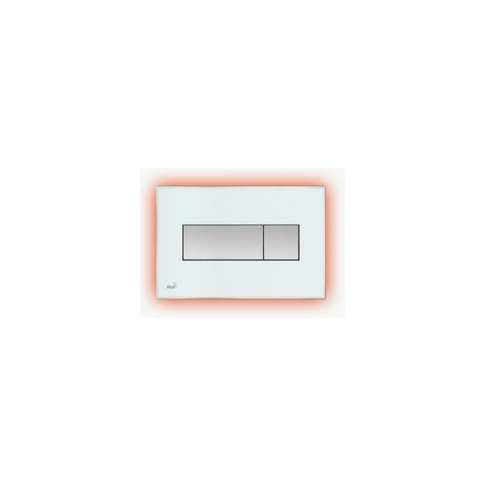 Clapeta de actionare Alcaplast pentru sistem de instalare ingropat, cu panou colorat inserat (Negru - lucios) - iluminat (Alb) imagine