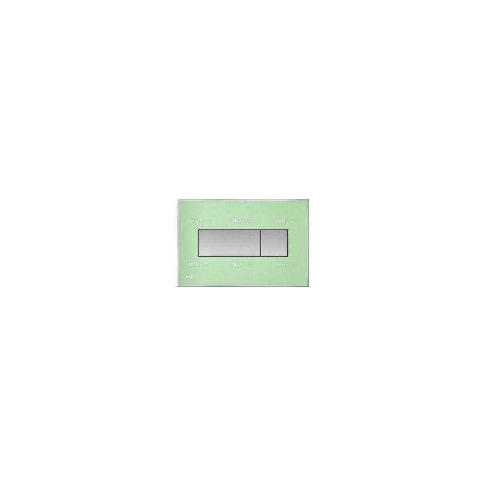 Clapeta de actionare Alcaplast pentru sistem de instalare ingropat, cu panou colorat inserat (Verde) - iluminat (Albastru) poza