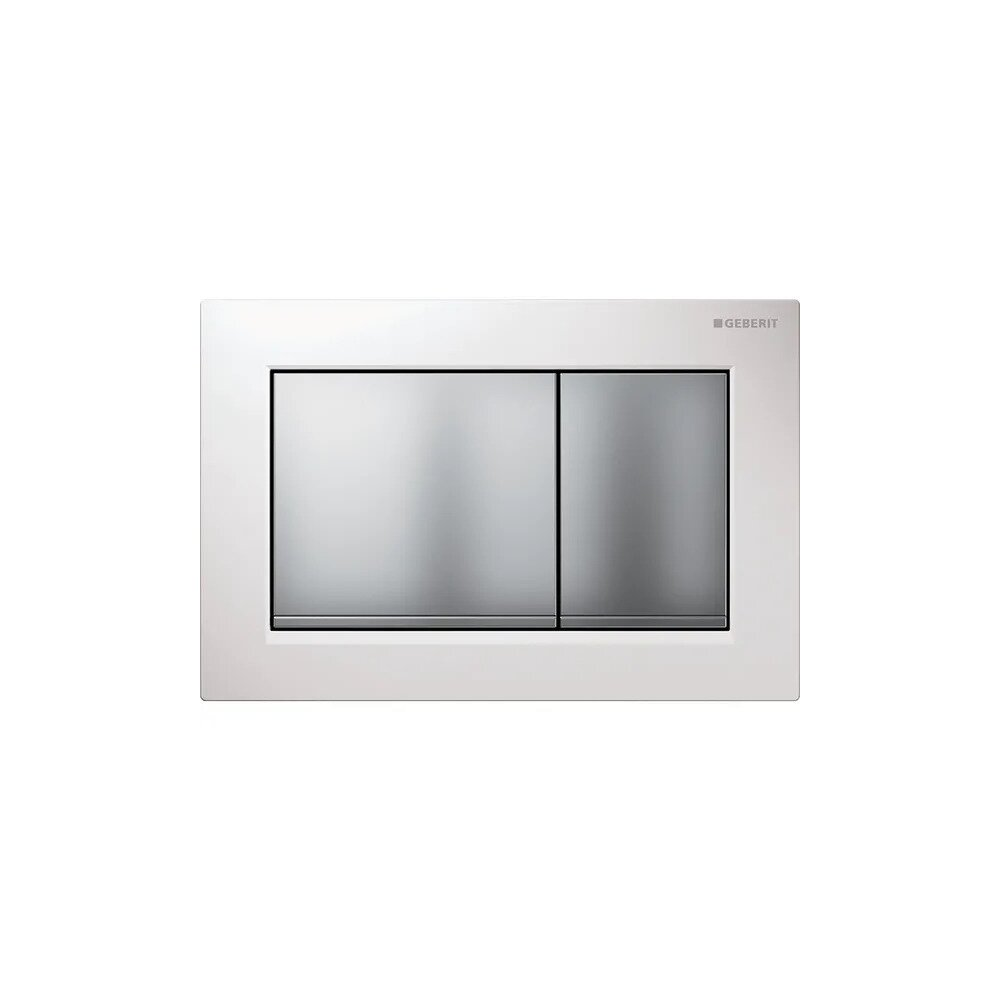 Clapeta de actionare Geberit Omega 30 alb/butoane crom mat imagine