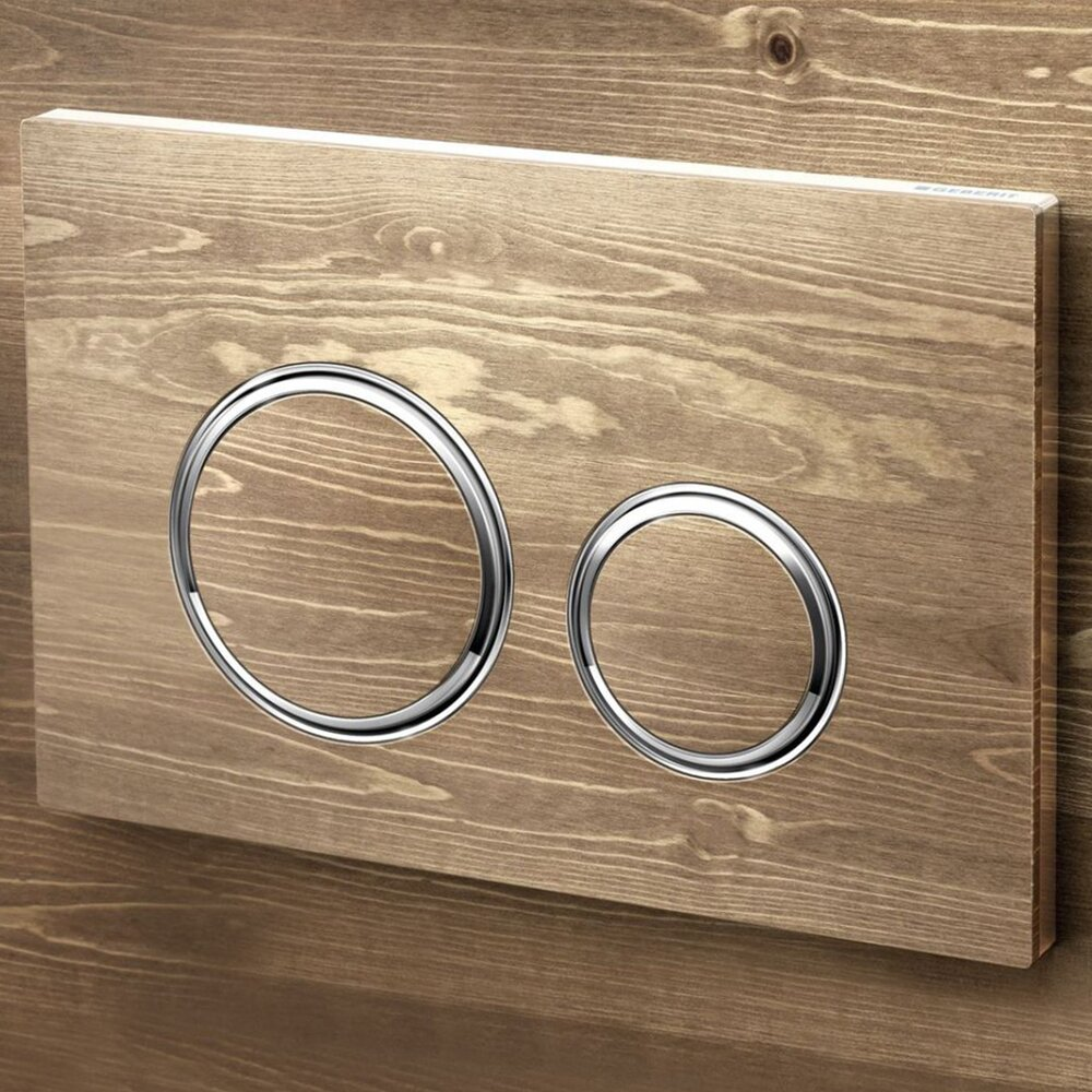 Clapeta de actionare Geberit Sigma 21 personalizabila butoane rotunde inele cromate poza