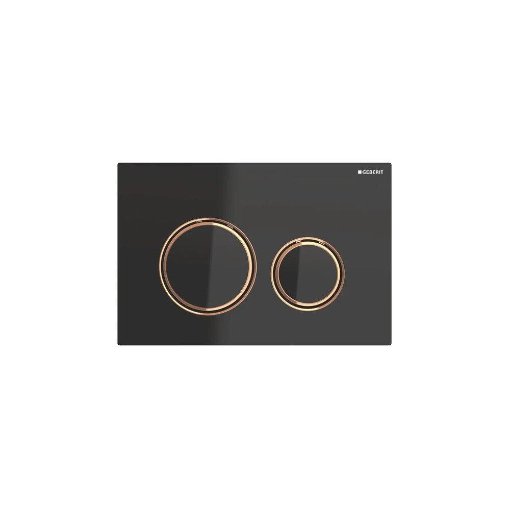 Clapeta de actionare Geberit Sigma 21 sticla negru cu inel rose gold