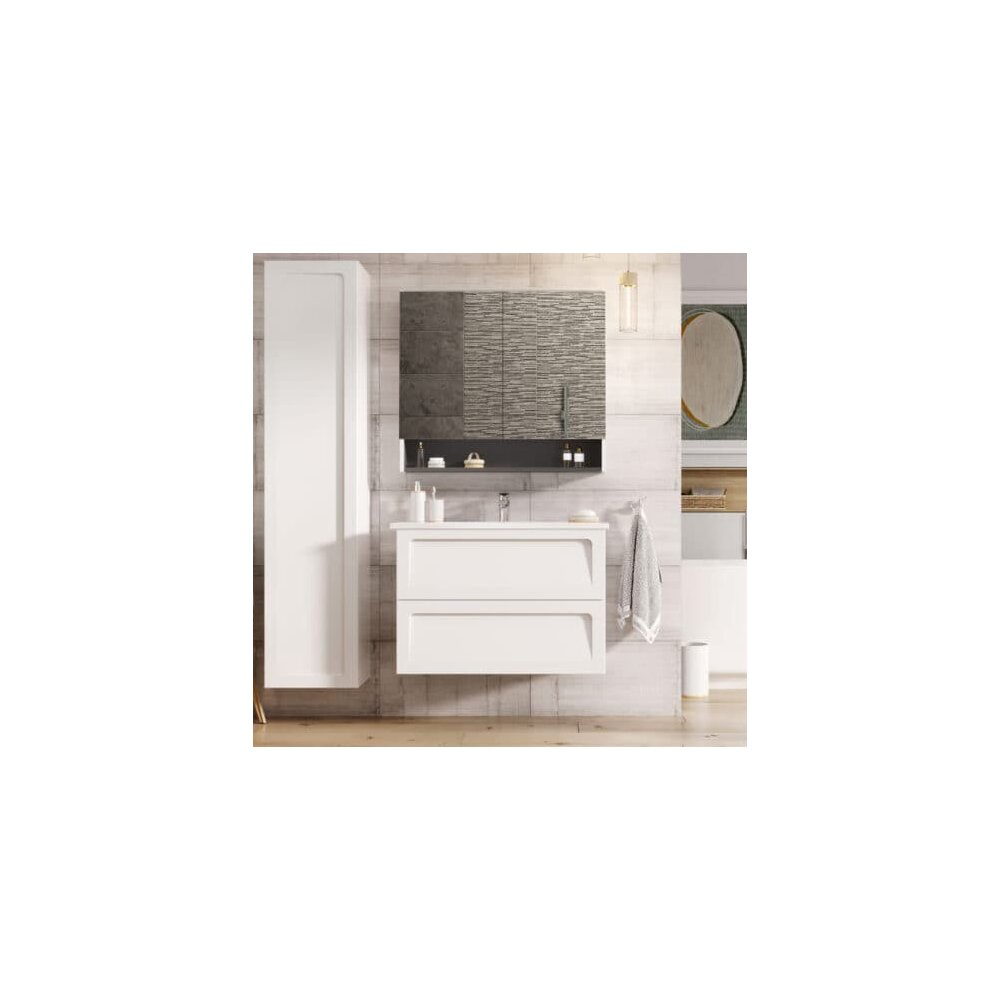 Dulap baza cu lavoar Oristo Beryl 2 sertare alb mat 60 cm imagine