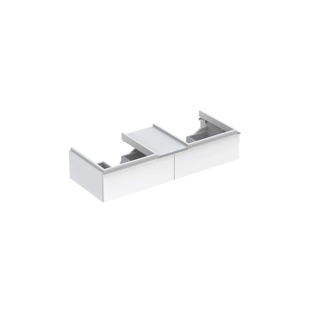 Dulap baza pentru 2 lavoare suspendat alb lucios Geberit Icon 2 sertare si 1 blat 119 cm neakaisa.ro