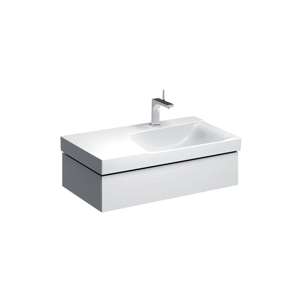 Dulap baza pentru lavoar cu blat suspendat alb sifon dreapta Geberit Xeno² 1 sertar 88 cm imagine neakaisa.ro