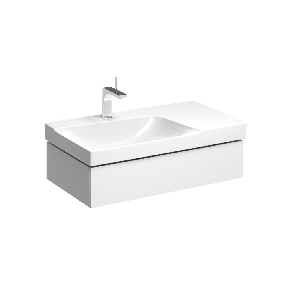 Dulap baza pentru lavoar cu blat suspendat alb sifon stanga Geberit Xeno² 1 sertar 88 cm imagine neakaisa.ro