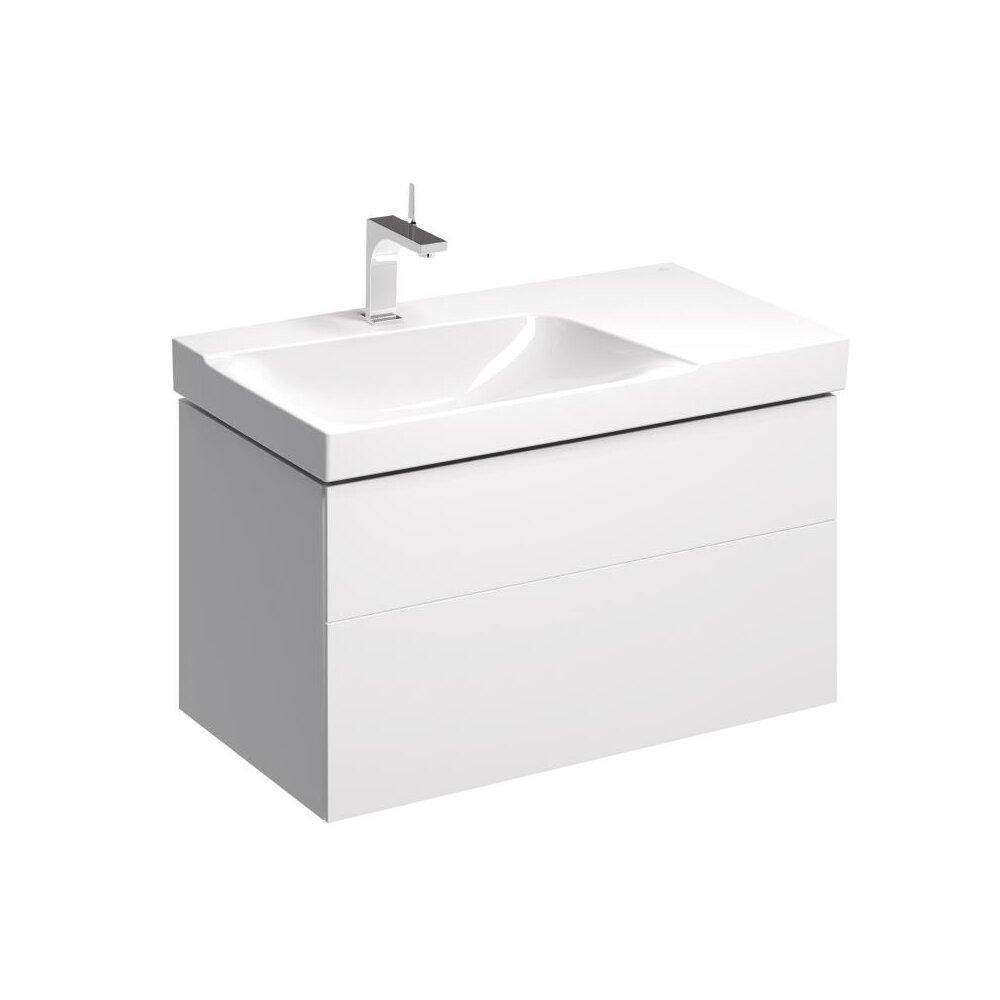 Dulap baza pentru lavoar cu blat suspendat alb sifon stanga Geberit Xeno² 2 sertare 88 cm neakaisa.ro