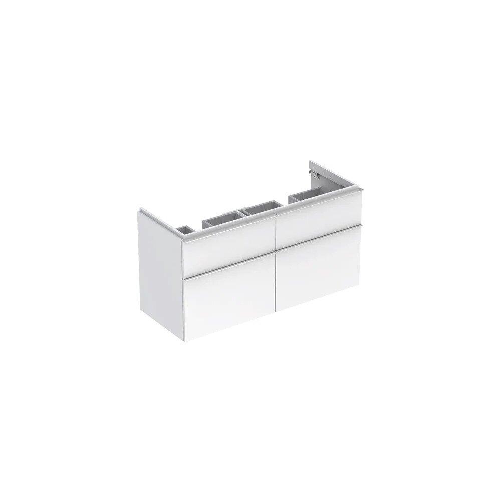 Dulap baza pentru lavoar dublu suspendat alb lucios Geberit Icon 4 sertare 119 cm imagine