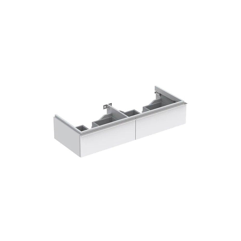 Dulap baza pentru lavoar dublu suspendat alb mat Geberit Icon 2 sertare 119 cm imagine