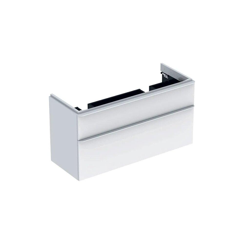 Dulap baza pentru lavoar dublu suspendat Geberit Smyle Square alb 2 sertare 119 cm