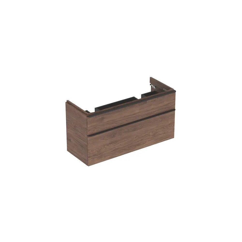 Dulap baza pentru lavoar dublu suspendat Geberit Smyle Square nuc 2 sertare 119 cm imagine neakaisa.ro