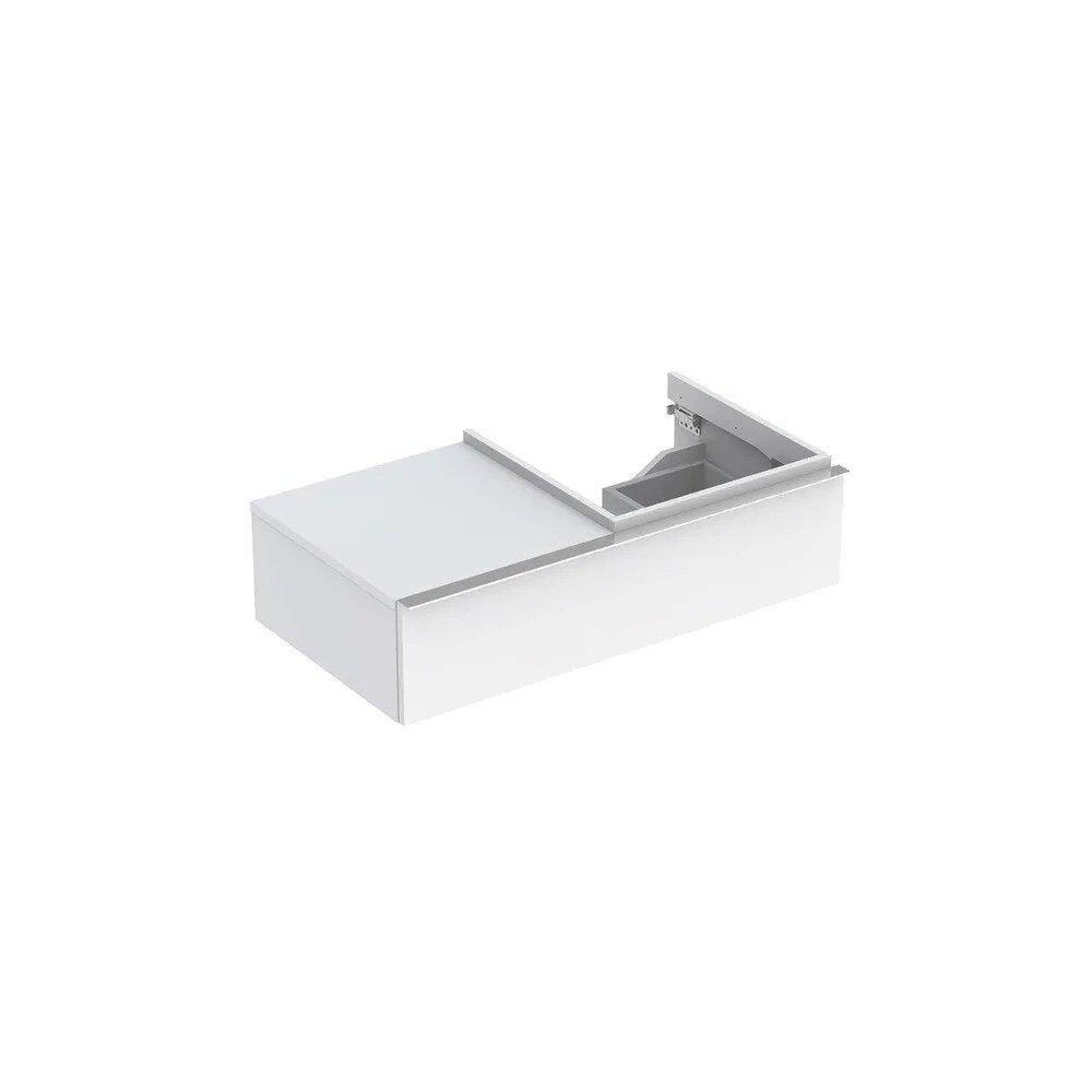 Dulap baza pentru lavoar suspendat alb lucios Geberit Icon 1 sertar si 1 blat dreapta 89 cm neakaisa.ro
