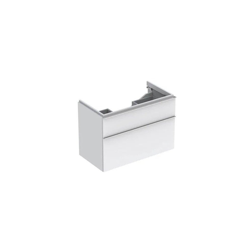 Dulap baza pentru lavoar suspendat alb mat Geberit Icon 2 sertare 89 cm