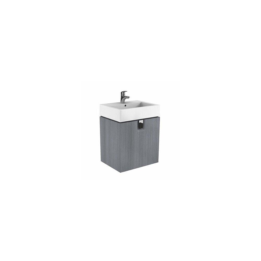 Dulap baza pentru lavoar suspendat cu sertar Kolo Twins 60 cm, gri argintiu imagine