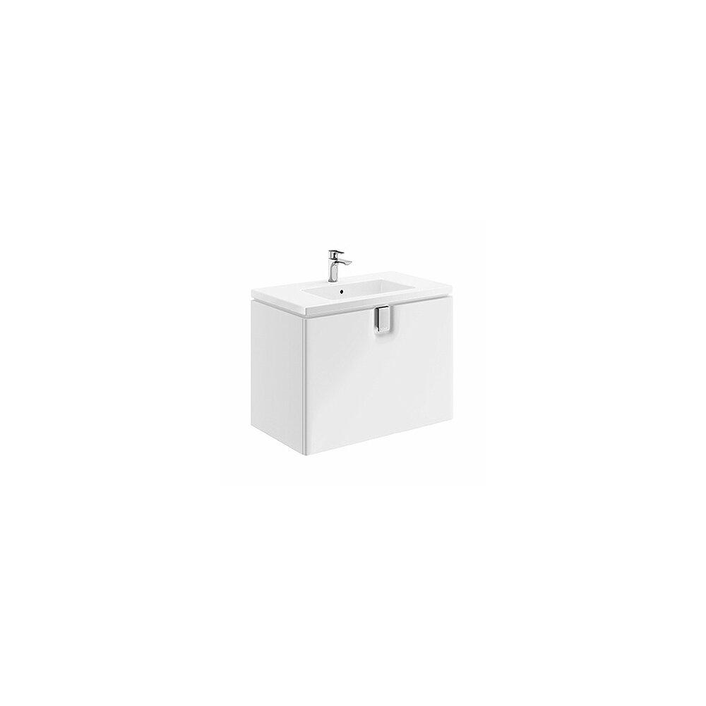 Dulap baza pentru lavoar suspendat cu sertar Kolo Twins 80 cm, alb lucios imagine
