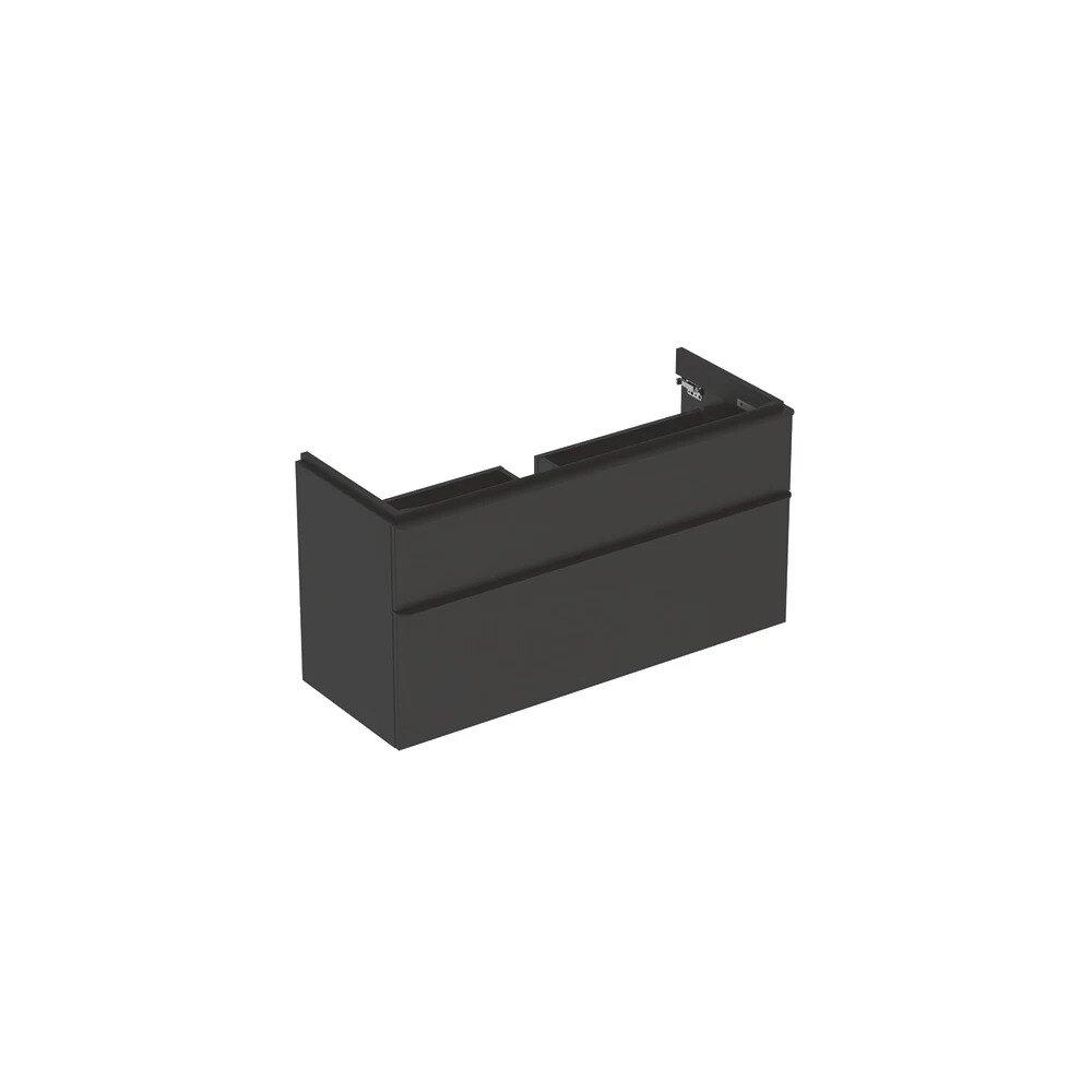 Dulap baza pentru lavoar suspendat Geberit Smyle Square negru 2 sertare 119 cm imagine