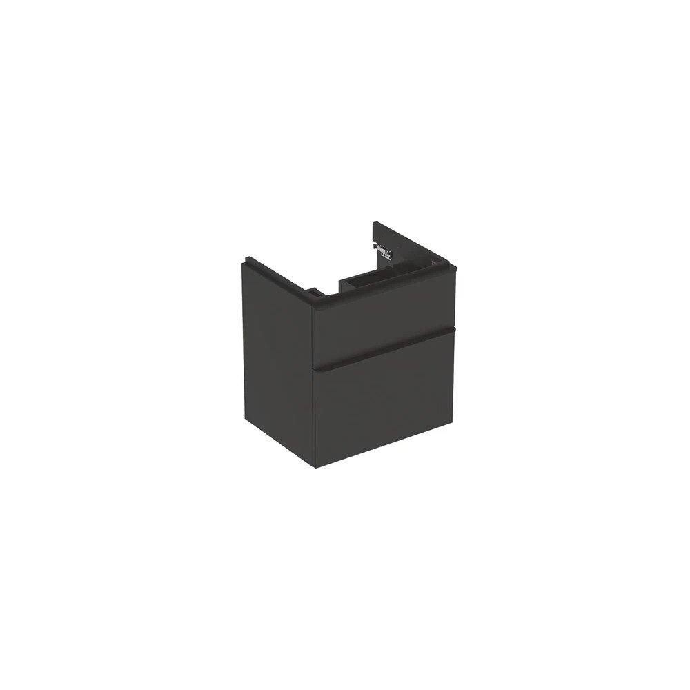 Dulap baza pentru lavoar suspendat Geberit Smyle Square negru 2 sertare 59 cm