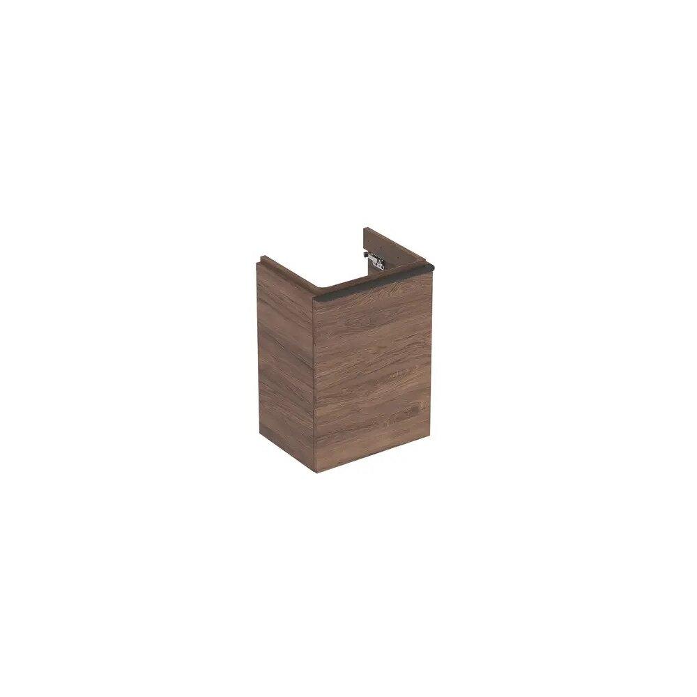 Dulap baza pentru lavoar suspendat Geberit Smyle Square nuc 1 usa opritor stanga 45 cm imagine