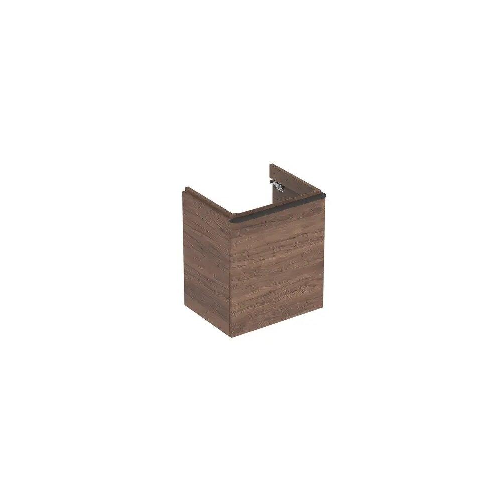 Dulap baza pentru lavoar suspendat Geberit Smyle Square nuc 1 usa opritor stanga 54 cm