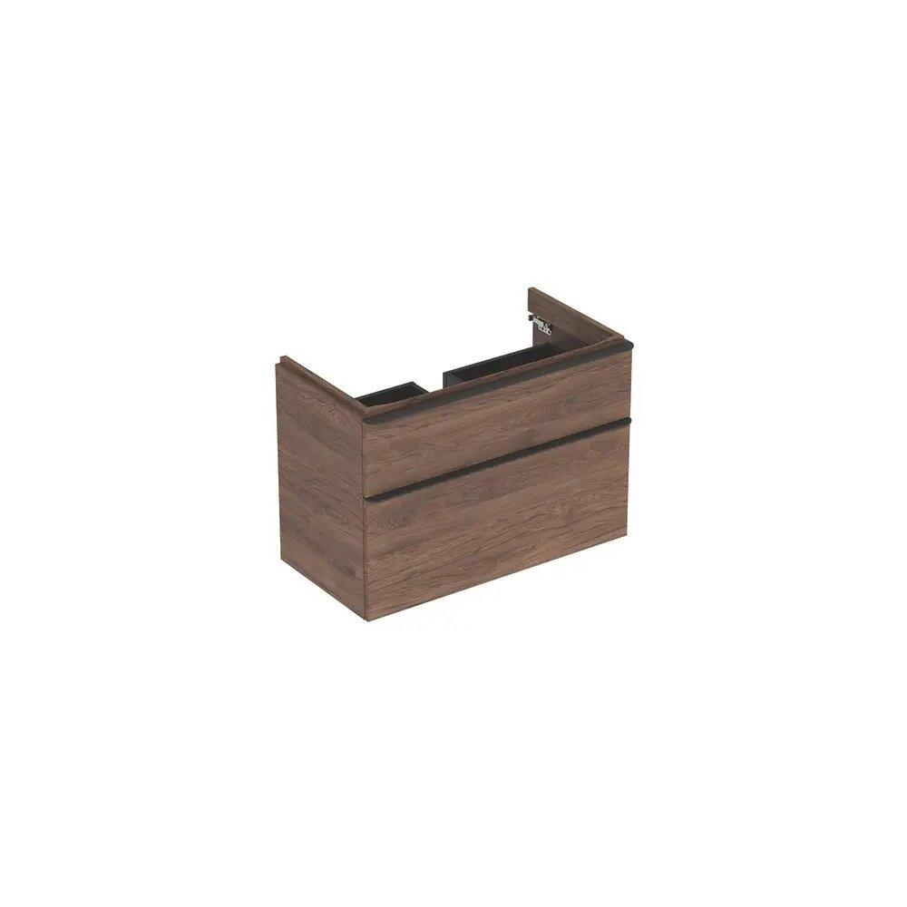 Dulap baza pentru lavoar suspendat Geberit Smyle Square nuc 2 sertare 89 cm