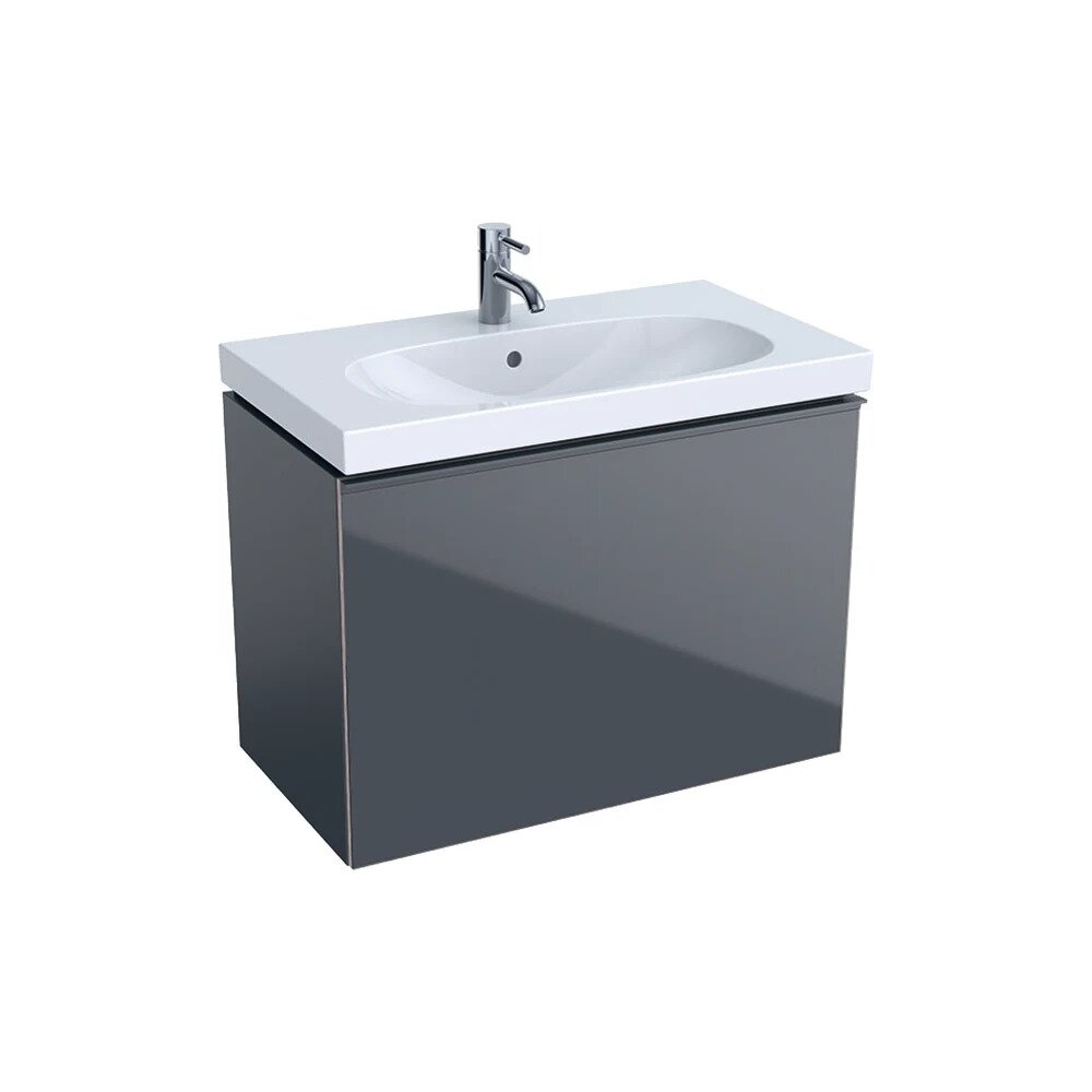 Dulap baza pentru lavoar suspendat proiectie mica negru Geberit Acanto 1 sertar 74 cm imagine