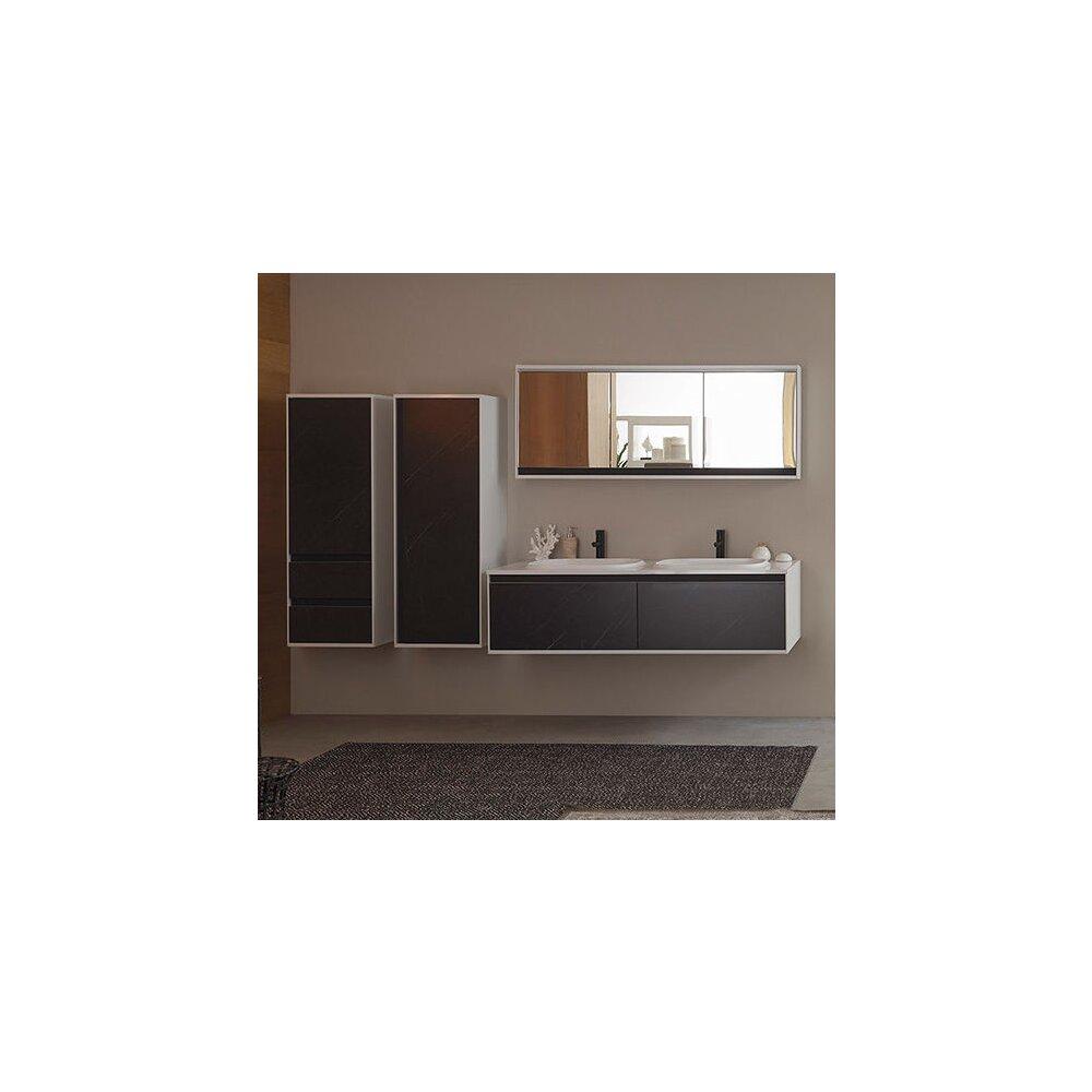 Dulap inalt suspendat cu usa si sertare KolpaSan Pandora mdf negru 130x45 cm imagine neakaisa.ro