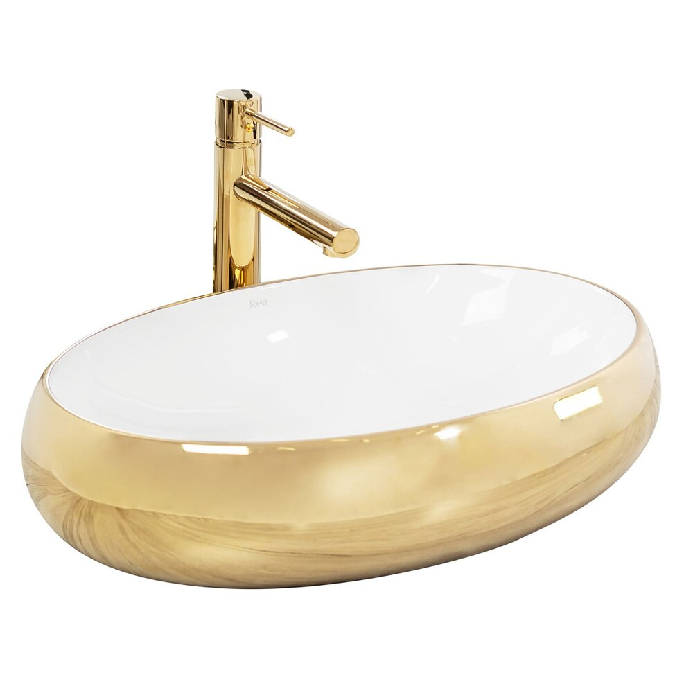 Lavoar alb/auriu pe blat Rea Melania 61 cm imagine